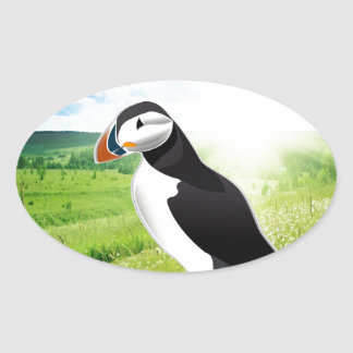 Atlantic Puffin Look forward to love Oval Stickers