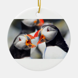 Atlantic Puffin mouths Double-Sided Ceramic Round Christmas Ornament