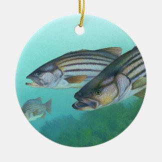 Atlantic Striped Bass Fish Morone Saxatilis Ceramic Ornament