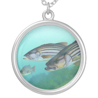 Atlantic Striped Bass Fish Morone Saxatilis Silver Plated Necklace