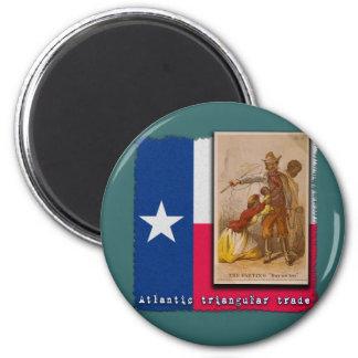 Atlantic Triangular Trade Texas Protest Tshirt 2 Inch Round Magnet