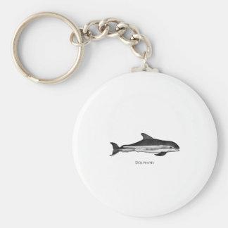 Atlantic White Sided Dolphin Logo Basic Round Button Keychain