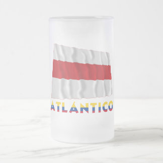 Atlántico Waving Flag with Name Frosted Glass Beer Mug