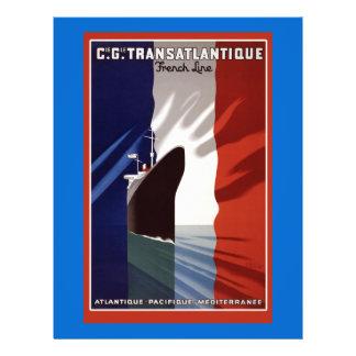 Atlantique French Cruise Line Retro Poster Flyer