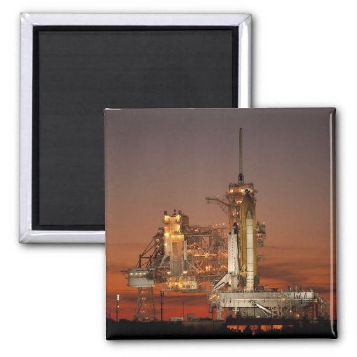 Atlantis awaiting the mission into space 2 inch square magnet