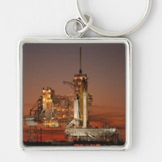 Atlantis awaiting the mission into space Silver-Colored square keychain