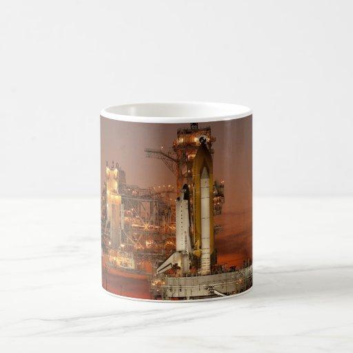 Atlantis awaiting the mission mugs