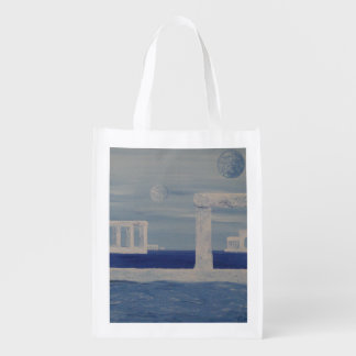 Atlantis Blue And White Ancient City Painting Grocery Bags