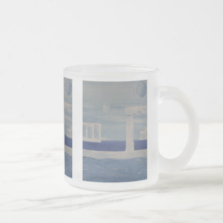 Atlantis Blue And White Ancient City Painting 10 Oz Frosted Glass Coffee Mug
