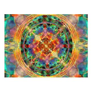 Atlantis inspired Rainbow Mandala Postcard