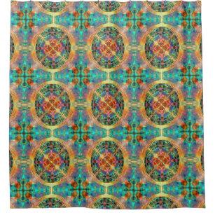 Atlantis Inspired Rainbow Mandala Sacred Geometry Shower Curtain