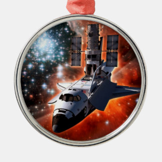 Atlantis with Hubble Round Metal Christmas Ornament