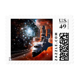 Atlantis with Hubble Postage Stamp