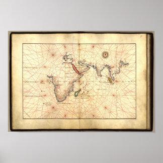 Atlas antiguo 1544 A.D. de Agnese del Océano Póster