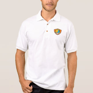 Atlas Carrying Globe Crest Woodcut Polo Shirt