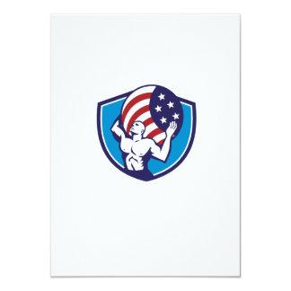 Atlas Carrying Globe USA Flag Crest Retro Card