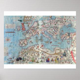 Atlas catalán: Detalle de la África del Norte y de Poster