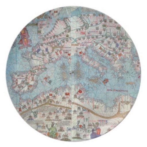 Atlas catalán: Detalle de la África del Norte y de Plato De Cena