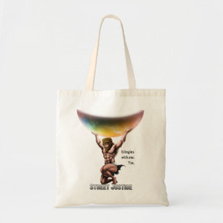 Atlas Conquers All by Street Justice Tote Bag