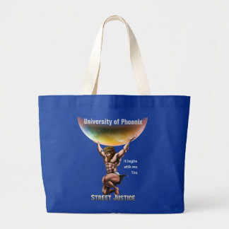 Atlas Conquers All*Personalized*by Street Justice Large Tote Bag