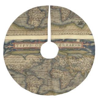 Atlas de la antigüedad del mapa del mundo del falda para arbol de navidad de poliéster