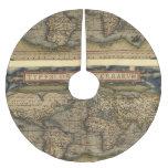 Atlas de la antigüedad del mapa del mundo del falda de árbol de navidad de poliéster