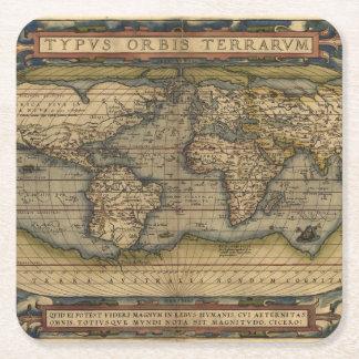 Atlas de la antigüedad del mapa del mundo del posavasos de cartón cuadrado