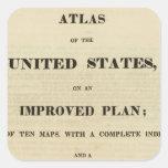 Atlas de la página de título de los Estados Unidos Pegatina Cuadrada
