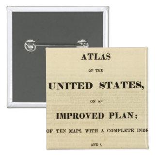 Atlas de la página de título de los Estados Unidos Pin Cuadrada 5 Cm