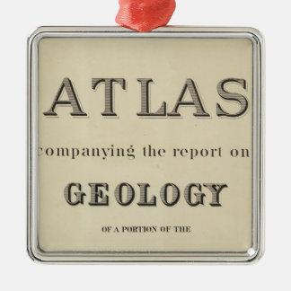 Atlas de la página de título que acompaña el adorno navideño cuadrado de metal