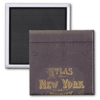 Atlas de la vecindad de Nueva York Imán Cuadrado