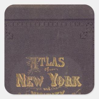 Atlas de la vecindad de Nueva York Calcomania Cuadradas Personalizada