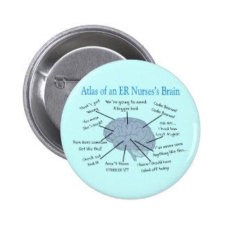 Atlas de los regalos del cerebro de una enfermera  pin redondo de 2 pulgadas