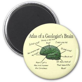 Atlas de los regalos divertidos del cerebro de un  imán redondo 5 cm