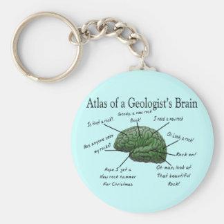 Atlas de los regalos divertidos del cerebro de un  llavero redondo tipo pin