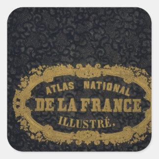 Atlas De nacional Francia Pegatina Cuadrada