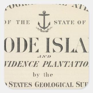 Atlas de Rhode Island de la página de título Pegatina Cuadrada