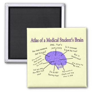 Atlas de un cerebro #2 del estudiante de medicina imán cuadrado