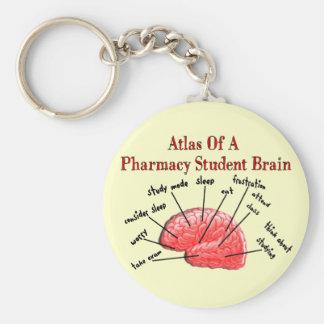 Atlas de un cerebro del estudiante de la farmacia llavero redondo tipo pin