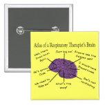 Atlas de un cerebro del terapeuta respiratorio pin cuadrada 5 cm