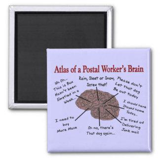 Atlas del cerebro de un empleado de correos imán cuadrado
