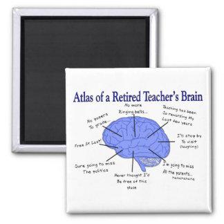 Atlas del cerebro de un profesor jubilado imán cuadrado