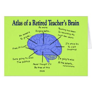 Atlas del cerebro de un profesor jubilado tarjeta de felicitación