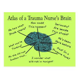 Atlas del cerebro de una enfermera del trauma postales