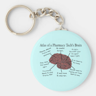 Atlas del cerebro de una tecnología de la farmacia llavero redondo tipo pin