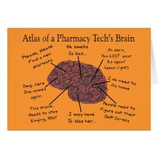 Atlas del cerebro de una tecnología de la farmacia tarjeta de felicitación