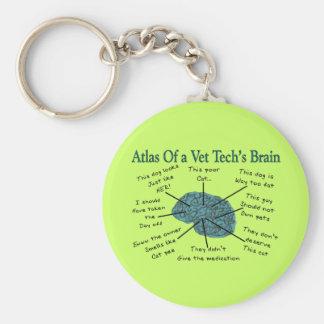 Atlas del cerebro de una tecnología del veterinari llavero redondo tipo pin