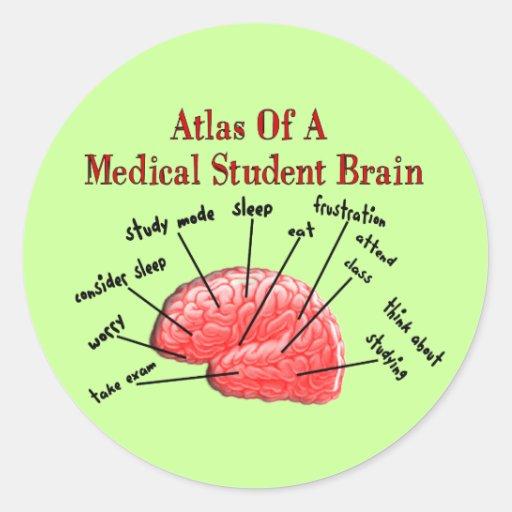 Atlas del cerebro del estudiante de medicina pegatina redonda