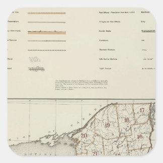 Atlas del Estado de Nuevo York Pegatina Cuadrada