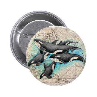 Atlas del mapa de la orca pin redondo de 2 pulgadas